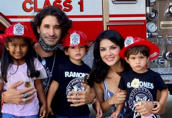 Sunny Leone, family have a day out with firemen