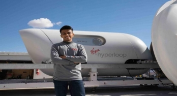 Young Indian rides hyperloop, a superfast vehicle developed by Richard Branson?s Virgin Group