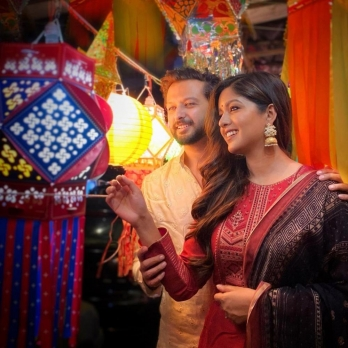?Vatsal Sheth, Ishita Dutta go kandil shopping to support local business
