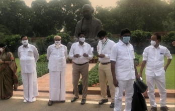 DMK, other UPA allies stage protest demanding cancellation of NEET