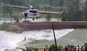 IAF chopper crew rescue man stuck in dam water for 16 hrs