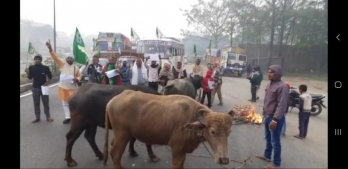 Trade union strike hits Bihar, workers block roads with buffaloes